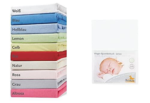 Pinolino 540004-0 - Spannbetttuch für Wiegen, Jersey, weiß
