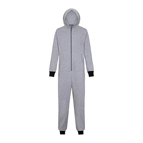 Herren Jumpsuit mit Kapuze - zum Golfen und Angeln, ALS Schlafanzug oder Loungewear - Grau mit Golfermotiv - L