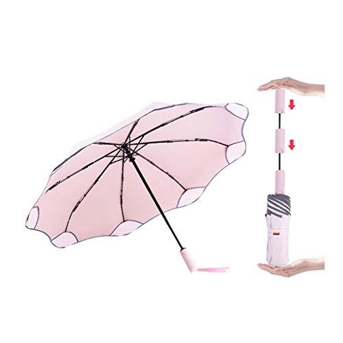 BCL Taschenschirme Automatische Sonnenschirme Der Kinder Und Frauen Anti-Rebound Sonnencreme Anti-Ultraviolett-Falten Abgerundete Ecken Sun Regenschirm(Color:Rosa)