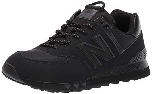New Balance de los Hombres 574 Zapatillas de Cuero, Negro, 7 UK