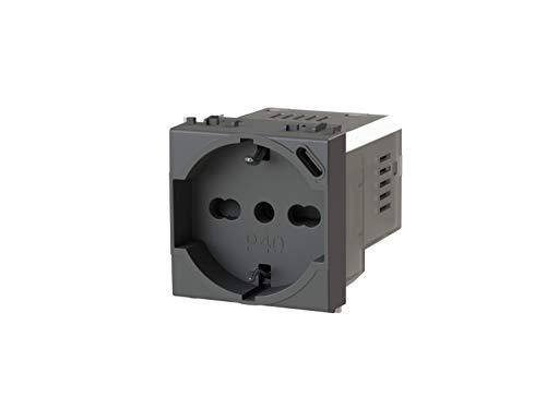 P40 USB3.0 - Presa elettrica schuko tipo P40 con integrato un alimentatore USB da 3 Ampere con connettore di tipo C compatibile con Vimar Arkè grigia, Antracite