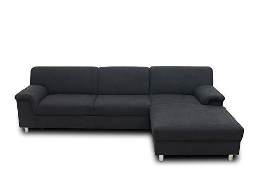 DOMO. collection Jamie Ecksofa | Sofa mit Schlaffunktion | Couch in L-Form, modernes Schlafsofa, anthrazit, 251x150x72 cm