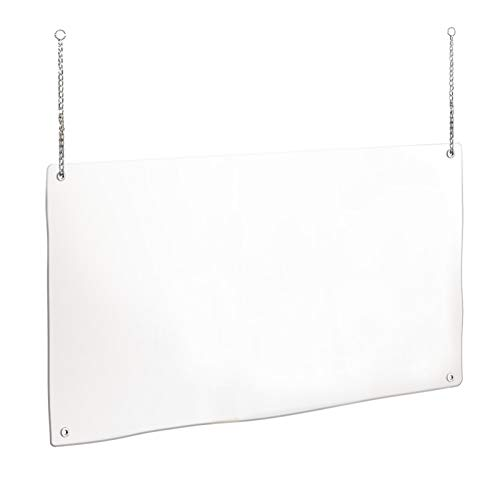20 x 32 Inch Countertop Shield, Hanging Sneeze Guard, Protective Shield for Counter, Wires Included, PVC Countertop Shield Barrier for Receptionist, Cashier, Office, Grocery, Retail Store
