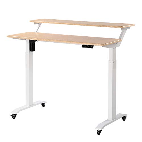 UNICOO - Electric Height Adjustable Standing Desk, Electric Standing Workstation Home Office Sit...