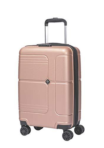 LYS - Valise Cabine Extensible Trolley 55x35x20 cm Plus 7 cm souflet Ultra léger 4 Roues doublées ABS Rigide Bagage à Main pour Ryanair, Easyjet, Lufthansa etc (Rose Gold)