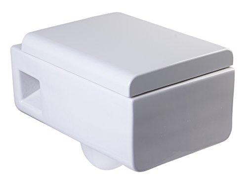 EAGO Square Modern White Ceramic Wall Mounted