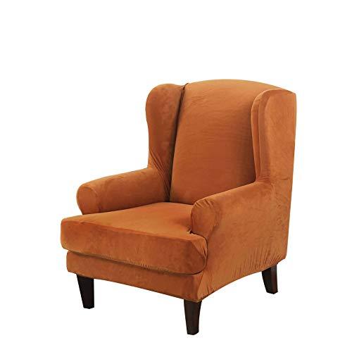 Samt Ohrensessel Schonbezug, Weich Ohrensessel Überzug Bezug Abnehmbarer Waschbarer Sesselbezug Husse Für Ohrensessel Mit Elastischem Boden Für Wohnzimmer-Orange-Ohrensessel