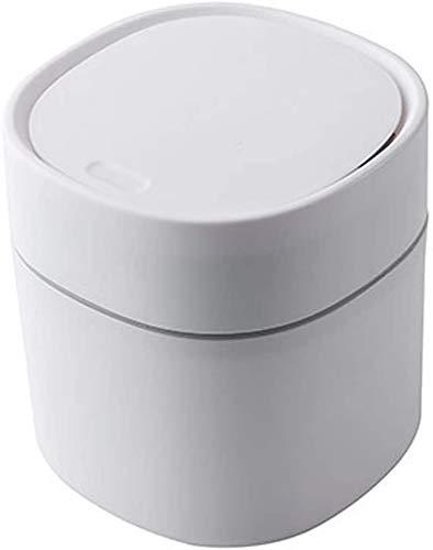 Mini papelera de plástico de cesta de plástico creativa cesta de mesa con tapa pequeña oficina casa limpieza cesta botón cesta de almacenamiento de escritorio cesta