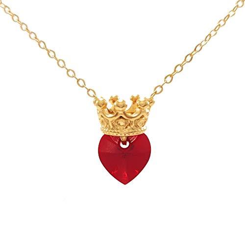 Collar de Princesa Corona con Corazón Swarovski Guinda – Princess Crown Necklace with Garnet Swarovski…