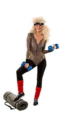 shoperama Sexy Damen Langarm-Body mit Leoparden-Print Leo-Druck 80er Jahre Achtziger Aerobic Gymnastik-Anzug Trash Bad Taste Retro, Größe:L/XL