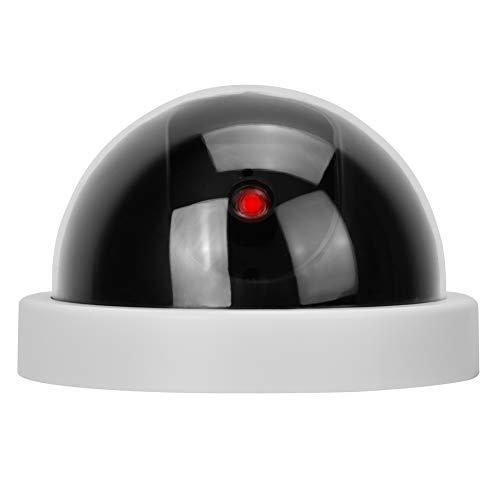Cámara simulada de Seguridad, Cámara Domo Falso vigilancia cámara simulada para Exteriores con luz LED roja, Blanco