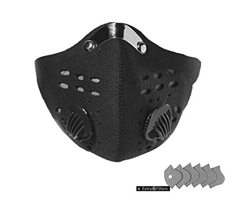 ReachTop Sport Mask with Exhalation Valves and Filters Half Face Anti Pollution Dust Mask Reusable Dust Pollution Sports Mask with Activated Carbon Filter for Cycling Running Outdoor Activities