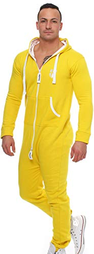 Gennadi Hoppe Herren Jumpsuit Onesie Jogger Einteiler Overall Jogging Anzug Trainingsanzug Slim Fit,gelb,XXXX-Large