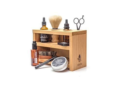DAS MÄNNERREGAL für Bartpflege-Produkte - Eiche Echtholz Massiv geölt - 100% PEFC zertifiziert - Handgemacht in DE - von SEÑOR BOBO - für Bartöl, Rasierer, Bart-wachs, Bartkamm