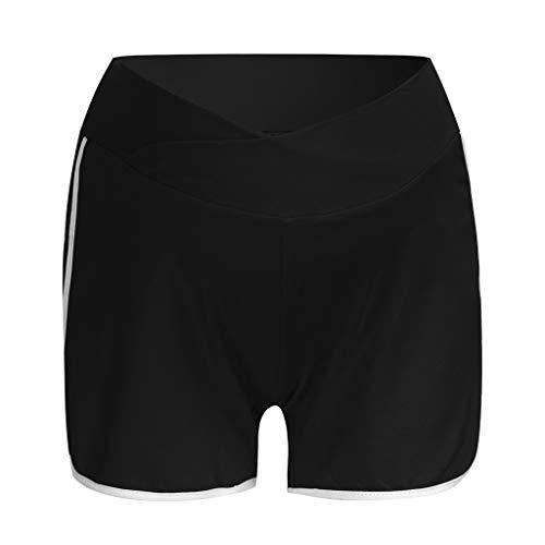 RISTHY Pantalones Cortos Premamá Pantalones de Deporte Leggings Pantalón de Yoga Pijamas Push Up Elástico Talle Bajo para Barriga Mujer Embarazada Maternidad