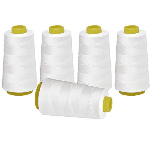 Tomkity 5pcs Bobines de Fils à Coudre Fil Surjeteuse pour Couture à la Main ou à la Machine en Polyester Blanc 13500 Mètres