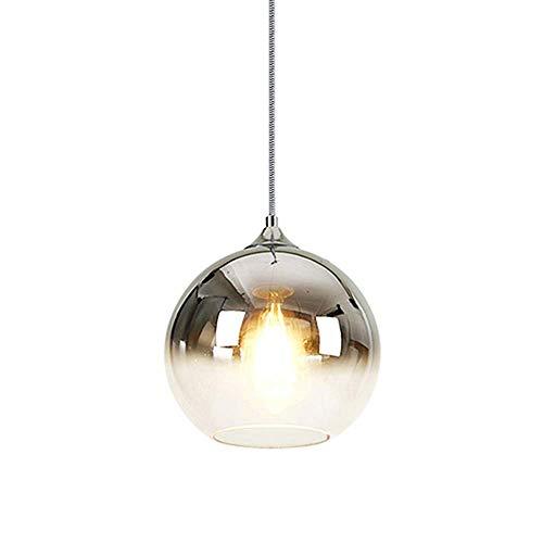 Moderne gekleurde heldere bol glazen hanglamp Droplight E27 led transparant glas eetkamer restaurant plafond hanglamp indoor huis commerciële decoratie verlichting verlichting Zilver-d 25 cm