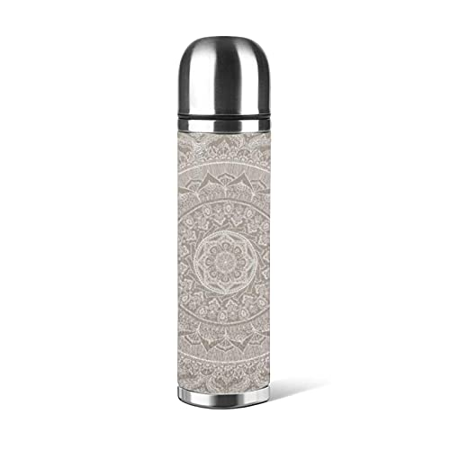 Bottiglia d'acqua in acciaio inossidabile Mandala Taupe, Thermos Cup Tazza sottovuoto Thermos Flask Tazza da caffè Tazze da viaggio 500 ML