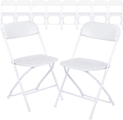 AJP Distributors 10 Pack 650 lb. Capacity Premium Plastic Folding Chairs Wedding Party Outdoor...