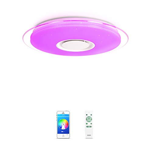 OFFDARKS - Plafóns LED Lámparas de Techo con Altavoz Bluetooth, APP Mando a Distanci + brillo ajustable + color change (B - 52W ⌀550MM Redondo)