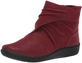 CLARKS Womens Sillian Tana Fashion Boot, Burgundy Synthetic Nubuck, 9.5 M US