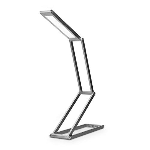 kwmobile LED Aluminium Tischlampe faltbar - Akku Nachttisch Leselampe dimmbar Micro USB Ladekabel - Akku Schreibtischlampe Faltlampe in Anthrazit