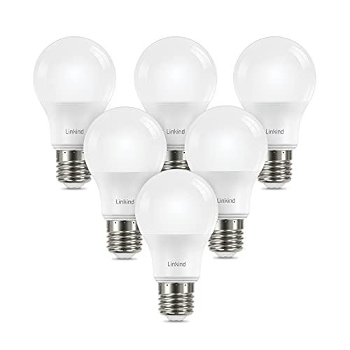 Linkind Dimmable E27 LED reemplaza lámpara incandescente de 75W, bombilla Edison A60 de 10.5W blanco neutro 4000K, 1060 lúmenes con ángulo de haz de 220 °, AC220-240V, 6 piezas