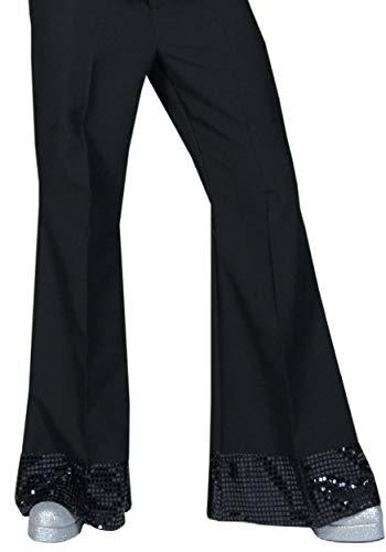 Generique - Pantalon Disco Noir avec Sequins sur Le Bas Homme XL