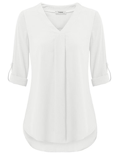 Youtalia Womens 3/4 Cuffed Sleeve Chiffon Printed V Neck Casual Blouse Shirt Tops (Medium, White)