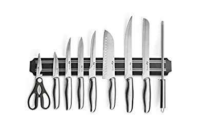 MAGNANI 9-Piece Knife Block Set, Stainless Steel Knife Block Set, Magnetic Wall Rack Plate & Woven Carrying Bag, Complete Chef Cutlery Knives Block for Kitchen and Restaurants