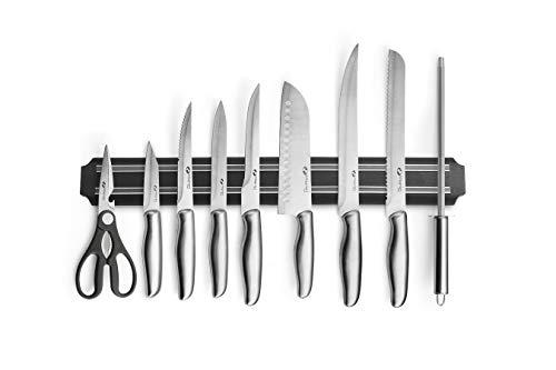 MAGNANI Küchenmesser Set 9-teilig aus Edelstahl, Messerset für die Küche mit Magnetleiste und Tragtasche, Auswahl an verschiedenen Messern, rostfrei