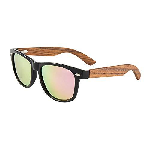 hqpaper Gafas de sol gafas de bambú y madera ecológicas con patillas de madera gafas de sol con revestimiento polarizado-madera de cebra negra brillante polarizada mercurio rosa real