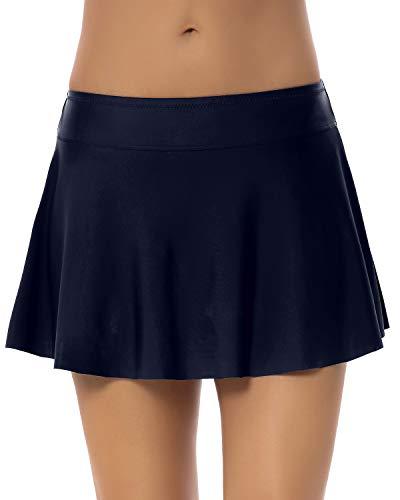 PANAX Niedrige Taille Damen Baderock mit Innenslip in Unifarben - Urlaub Bikinirock Swimwear Tankinihose Marine, Größe XXL