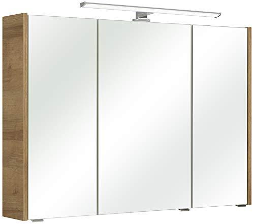 Pelipal 362 Rovato Spiegelschrank, Holzdekor, Riviera Eiche Quer Nachbildung, 18 x 100 x 70 cm