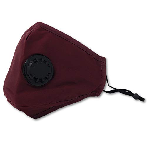 Cotton Cloth Reusable Adult Face Mask with Breathing Valve and 1- PM2.5 Carbon Filter (Burgundy)