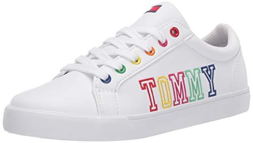 Tommy Hilfiger Girl's TH ARRIN Logo II Sneaker, White/Rainbow, 12 Child US Little Kid