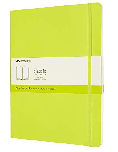 Moleskine - Cuaderno Clásico con Hojas en Blanco, Tapa Blanda y Cierre con Goma Elástica, Tamaño XL 19 x 25 cm, Color Verde Limón, 192 páginas