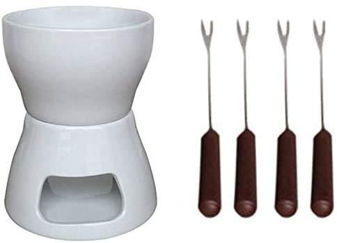 DMYX Cavis - Juego de fondue de cerámica para chocolate con tenedores y velas de té (porcelana)