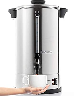 SYBO RCMO15S-8C Commercial Grade Stainless Steel Percolate Coffee Maker Hot Water Urn 40-Cup Capacity for Catering, 8 Liter, Metallic