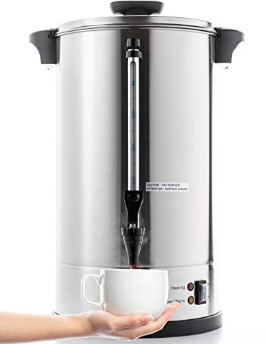 SYBO SR-CP100C Commercial Grade Stainless Steel Percolate Coffee Maker Hot Water Urn, 16 L, Matallic