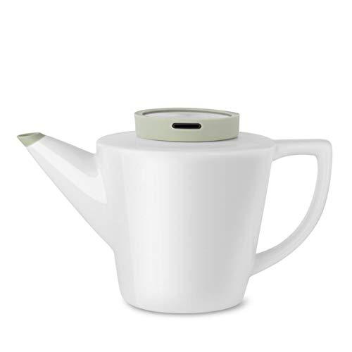 Viva Scandinavia 9101138 Infusion-Théière en Porcelaine Blanche avec Couvercle 1 L, Blanc, 20,5 x 14,5 x 15 cm