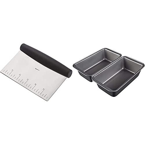 Amazon Basics - Brotbackform, antihaftbeschichtet, Karbonstahl, 20,3 cm x 10 cm, 2er-Pack & Mehrzweck-Küchenschneider/-schaber, Edelstahl