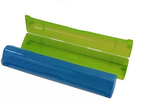 Gluecksshop Dispensador de papel de aluminio, cortador de láminas, rasqueta para rollos de aluminio y film transparente con borde arrancado (azul)