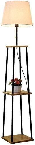 UWY Organizador Almacenamiento Estantes de exhibición Lámpara de pie, Lámparas de pie, Lámpara de pie LED Estante de Madera Marco de Metal Luz Alta, para Sala de Estar Dormitorio Lámpara de pie -