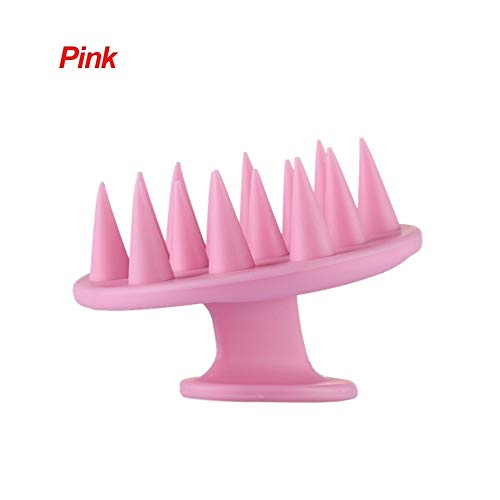 HenShiXin pour Les Soins des Cheveux De Mode Brosse À Plat Silicone Shampooing Cuir Chevelu Masseur De Cheveux Propre Bain Douche Cheveux De Nettoyage Peigne 4 Couleurs (Color : Pink)