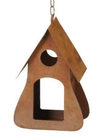 Rostalgie Edelrost Futterhaus an Kette zum Hängen Garten Dekoration Vogelhaus