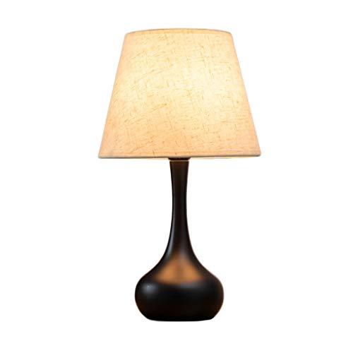 Metall-Tischlampe Stoff Lampenschirm Noten-Schalter for Wohnzimmer Study Schlafzimmer Nachttischlampen (Color : Matte black)