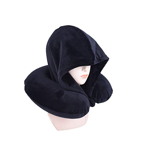 Bookishbunny Fashion Look U Shaped Memory Foam Neck Head Support Travel Pillow with Velvet Hoodie - Best Comfort Pain Relief for Long Trip, Air Bus Traveling, Car Driving (Solid Black)