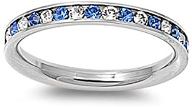 Stainless Steel Eternity Blue and Clear Cz Wedding Band Ring 3mm (3,4,5,6,7,8,9,10); Comes with Box