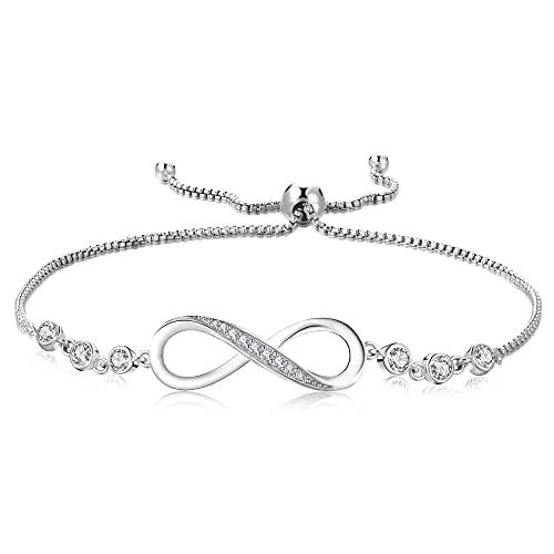 GOXO Pulsera Infinity de plata de ley 925 con cristal de la amistad para mujeres y niñas,